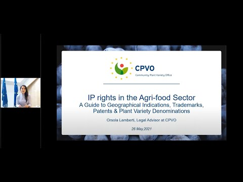 CPVO coop Webinar: IPR in the Agri food Sector: a Guide to Geographical Indications, Trademarks