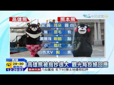 20150708中天新聞 熊熊一看都一樣高雄熊抄熊本熊?