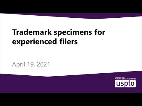 Trademark specimens for experienced filers