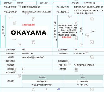 中国商標OKAYAMA