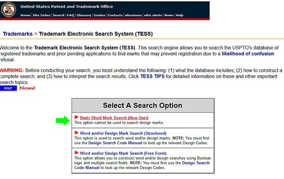 TESS Basic Word Mark Option